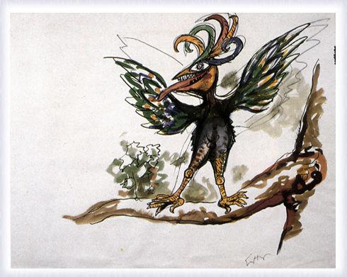 Foresta radice labirinto, figurino per l'uccello
