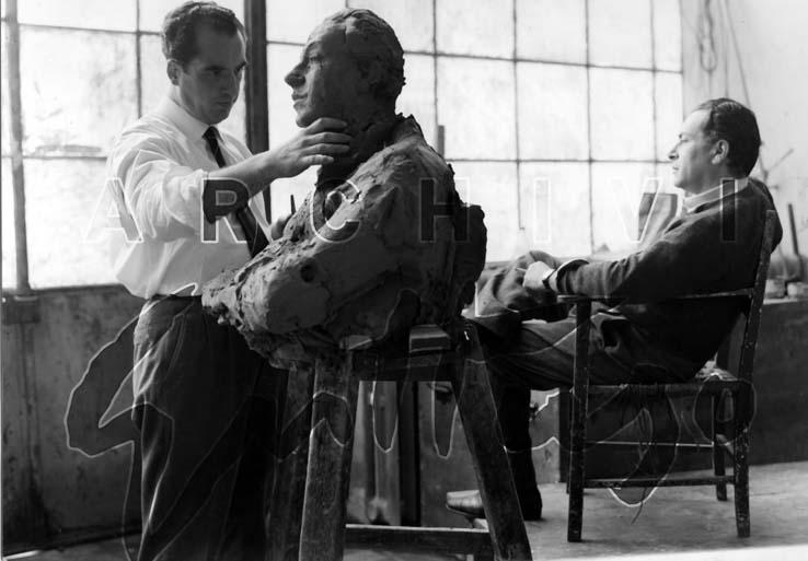 Marino Mazzacurati, Renato Guttuso nello studio di Villa Massimo, Roma, anni '50