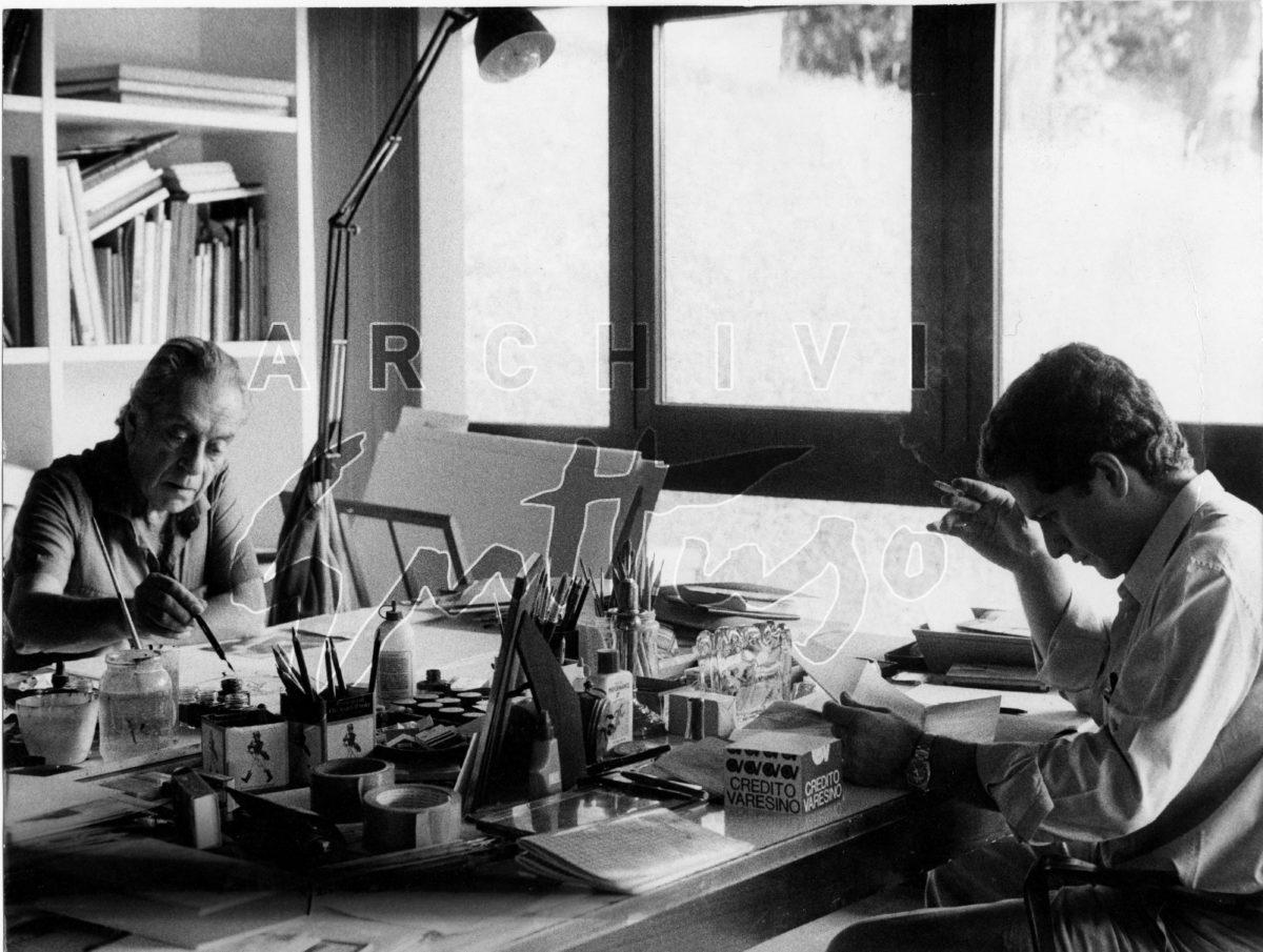 Renato Guttuso, Fabio Carapezza Guttuso nello studio di Velate, 1985