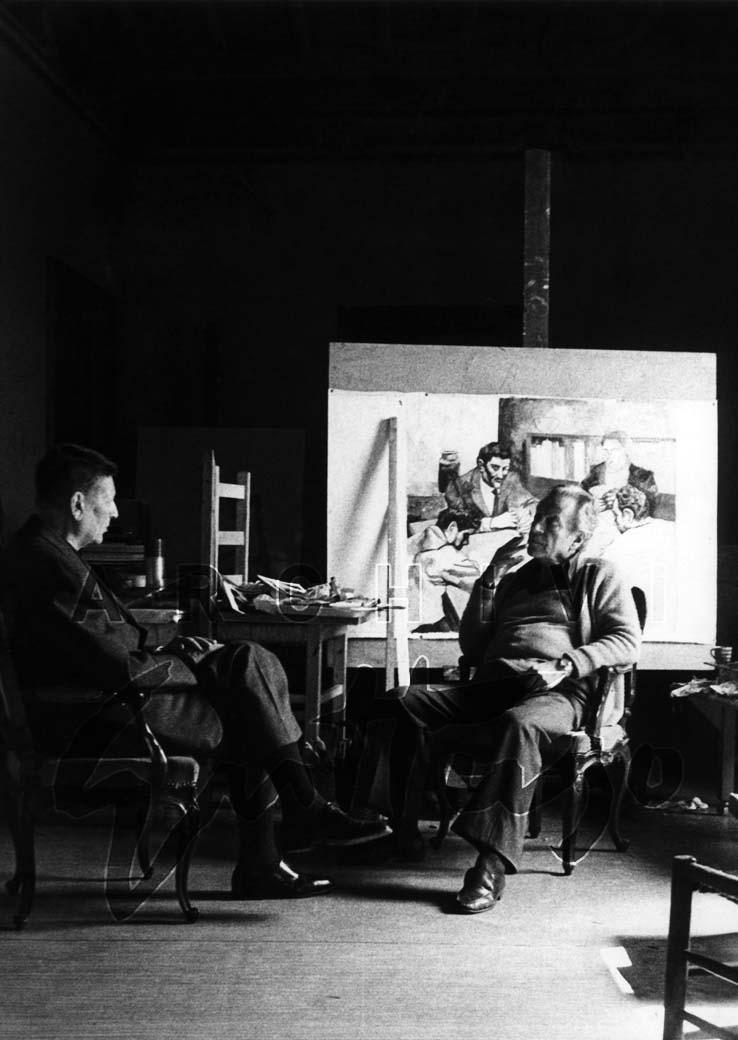 Renato Guttuso e Giorgio Amendola nello studio di Palazzo del Grillo, 1979