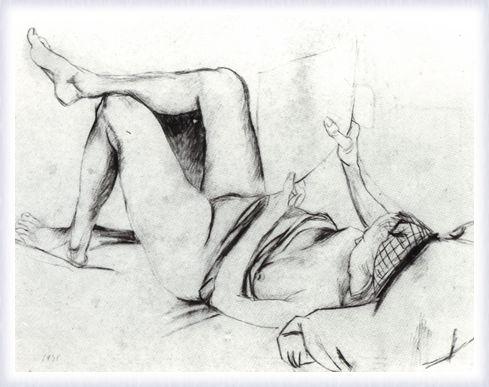 Figura di donna sdraiata che legge
