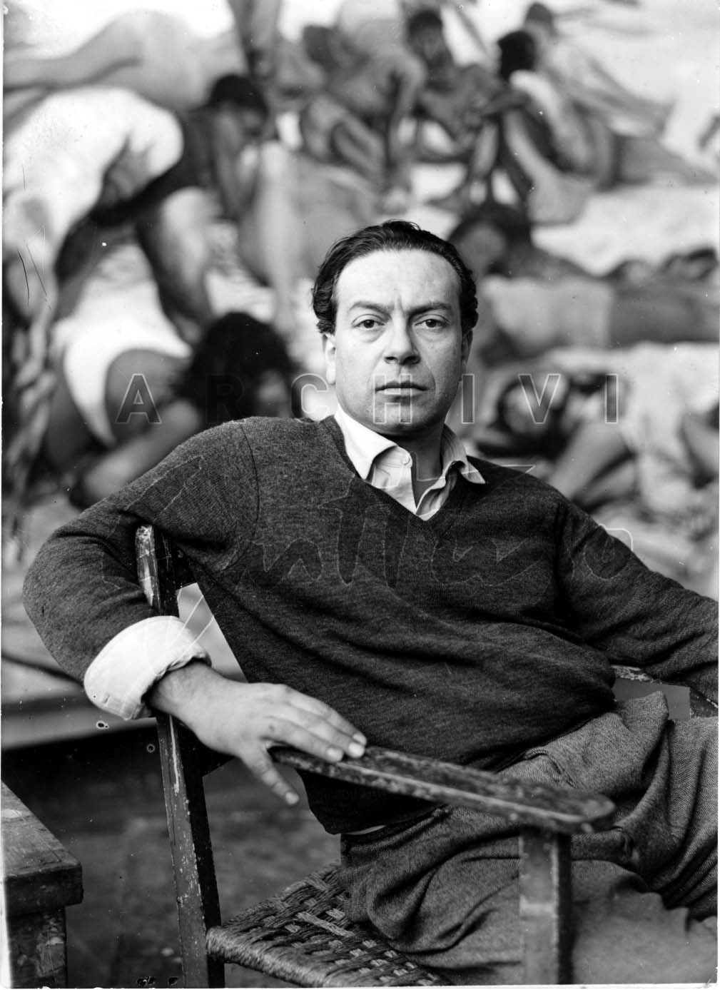 Renato Guttuso nello studio di Villa Massimo, 1956