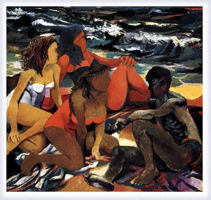 Quattro figure sulla spiaggia